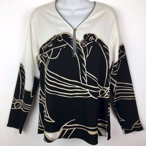 Tory Burch blouse black white ivory size 0